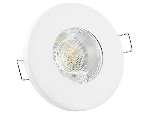 linovum® LED Einbaustrahler 6W flach IP65 weiß mit Wasserschutz für Bad, Dusche oder Außen inkl. GU10 Lampe warmweiß 2700K