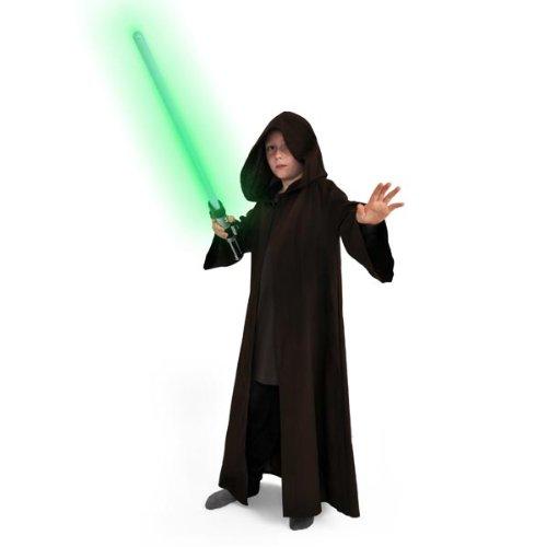 Star Wars Tunica Jedi per i Bambini Lungo Cappotto Costume Marrone con Cappuccio, Manica Lunga Potere Order
