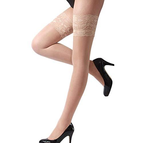 L-Yune-Medias Moda Sexy for Mujer Ropa Interior Neta de Encaje Top Muslo Medias Pantimedias Calcetería Collares Mulher Rodilla Calcetines (Color : Khaki)