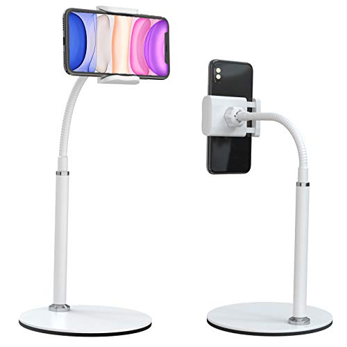 """Cell Phone Stand, Adjustable Height & Angle Phone Holder Gooseneck Flexible Arm Universal Phone Stand for Desk, Aluminum Alloy Desktop Cell Phone Holder Compatible with 3.5""""-6.5"""" Device (White)"""