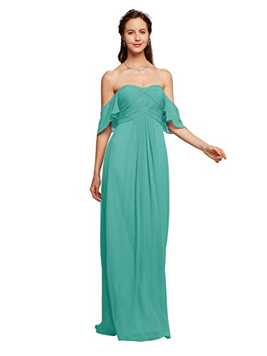 Alicepub Off The Shoulder Chiffon Party Dress Sweetheart Long Prom Evening Formal Gown, Tiffany, US16