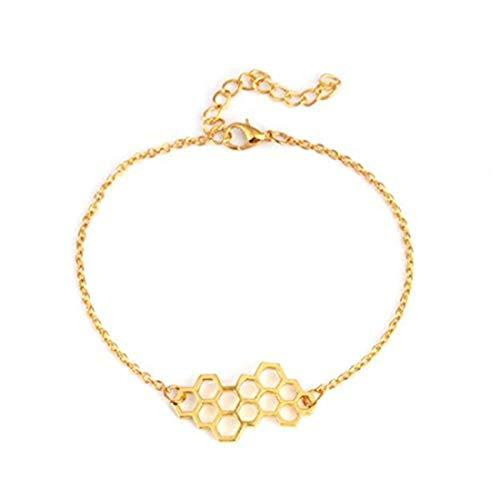 yichahu Simple Geometría Miel Celular Pulseras Honeycomb Bees Pulsera Mujer Moda Joyería Niña Fiesta Regalos Dorado
