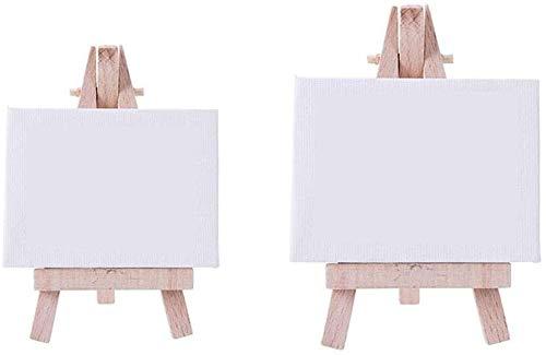 YUXO Caballete de Madera Grandes Caballete de Soporte para Pintura Mini Caballete portátil pequeño con Mesa de Trabajo Caballete de Escritorio para Estudio Infantil Juego de 2 Piezas Caballete