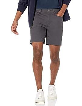 Amazon Essentials Men s Slim-Fit 7  Inseam Stretch 5-Pocket Short Dark Grey 36