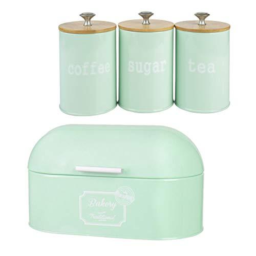 perfk Caja de Panadería Y Cocina Juego de Botes de Condimentos de Metal Té Café Ollas de Almacenamiento