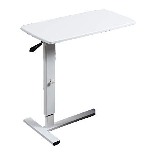 QYT-mobiler Betttisch auf Rollen, Beistelltisch höhenverstellbar/breitenverstellbar, Tischplatte neigbar/klappbar, Bett-Beistelltisch für Krankenbett, Pflegebett, Laptoptisch(80 * 40cm),D