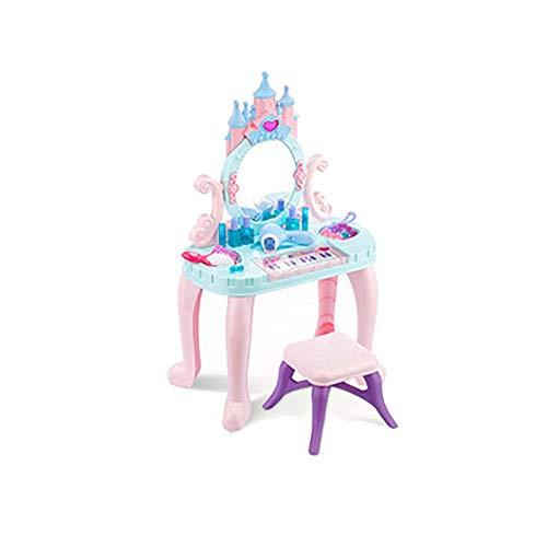 Bels Kinder-Schminktisch mit Hocker, Kunststoff-Schminktisch mit Sound, für Mädchen und Kinder, Blau + Rosa