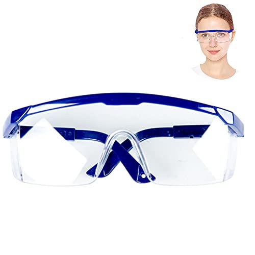Occhiali di Sicurezza Trasparente Occhiali Protettivi, Antigraffio, Anti Appannamento, Avvolgenti, presa Antiscivolo (Blu)