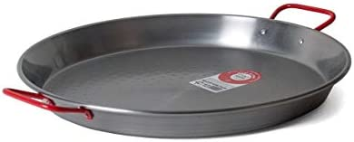 Garcima 15-Inch Carbon Steel Paella Pan, 38cm, Silver