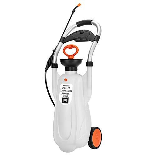 VIVOSUN 3.2 Gallon Lawn and Garden Wheeled Pump Compression Sprayer with Pressure Relief Valve, Labor-Saving Wheel Design