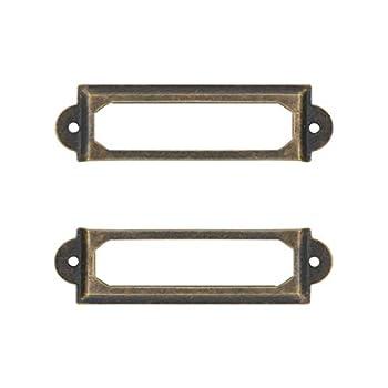 Adiyer [40 Pack] Office Library File Drawer Cabinet Card Tag Label Holder Metal Frame  Antique Bronze