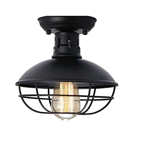 HUAQINEI Lámpara de Techo de Metal Negro, Estilo Industrial Retro, lámparas Decorativas nostálgicas, Pasillo, Entrada, Sala de Estar, iluminación de Estudio
