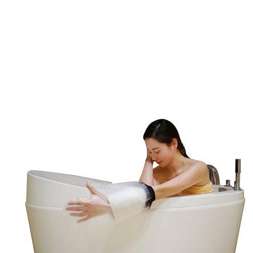 MUTTIY - Protector de ducha impermeable para brazo de adulto, protección impermeable y transparente para el baño, protector de venda impermeable para la mano, muñeca y dedos, 100% impermeable (negro)