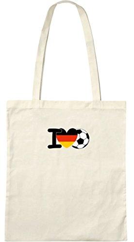 I love Fußball; Stofftasche weiß