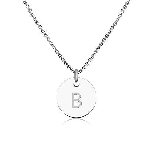 GD GOOD.designs EST. 2015 ® Collar con Inicial en Plata, Collar con Letra Inicial de Acero Inoxidable, Collar con Letras para Mujeres (Letra B)
