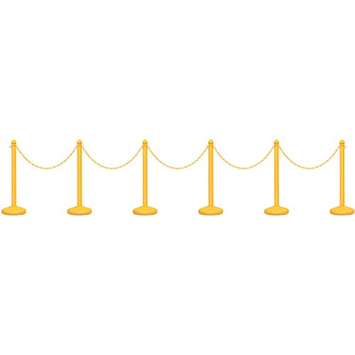 """Goplus 6pcs Plastic Stanchion Set Crowd Control Stanchions Barriers Outdoor and Indoor Stanchions with 40"""" Connect Chain, C-Hooks"""