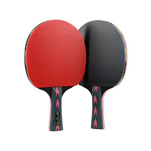 BESPORTBLE 2 Piezas 5 Estrellas Red Carbono Fibra Raqueta de Tenis de Mesa Doble Granos- En Raqueta de Ping Pong para Jugador Adolescente (Agarre Recto)
