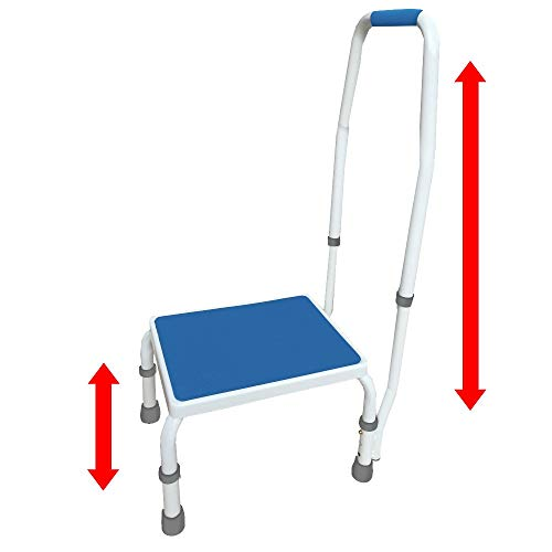 AdjustaStep(tm) Deluxe Step Stool/Footstool with Handle/Handrail, Height Adjustable. 2 Products in 1. Modern White/Blue Design. Padded Non-Slip Handle.