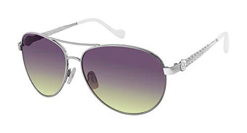 Jessica Simpson J5702 Aviator Sunglasses with Enamel Logo, Textured Metal Leaf Designed Temple & 100% UV Protection, Silver & White, 60 mm