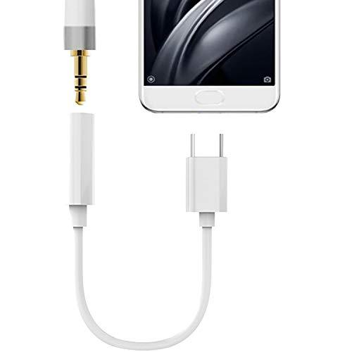 TheSmartGuard USB-C Adaper op jack/Aux kabel/luidsprekerkabel/hoofdtelefoonkabel Vrouwen (-Belangrijk- Niet compatibel met HTC en Google Pixel modellen) | Kleur: Wit | Lengte: 10 cm / 0,10 meter