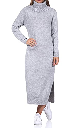 ONLY Damen Strick-Kleid ONLBrandie mit XL-Rollkragen 15214595 Light Grey Melange M