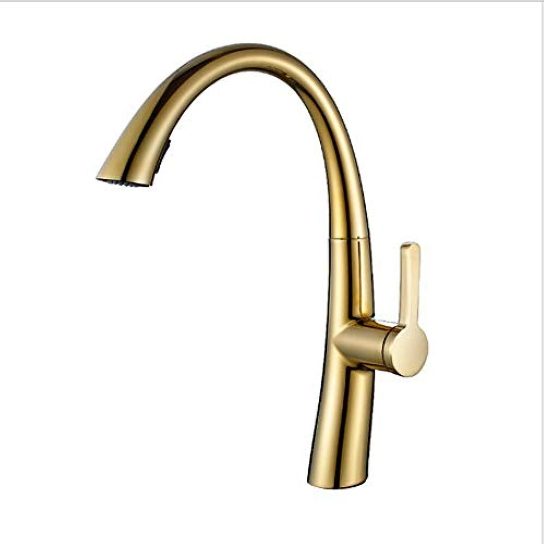 Xiujie Wasserhhne Vollkupfer-ZirconiumGold-Ausziehküche Wasserhahn Spüle Mit Drehbarem Einhebel-Einloch Wasserhahn