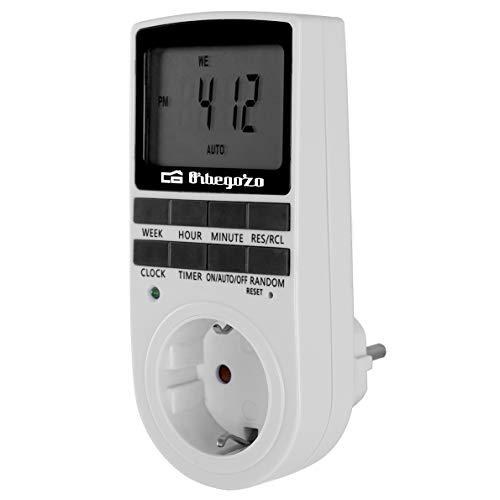 Orbegozo PG 25 - Programador digital semanal, 16 programas, flexibilidad uso 24/7, modos de funcionamiento: on/off/auto, batería incluida