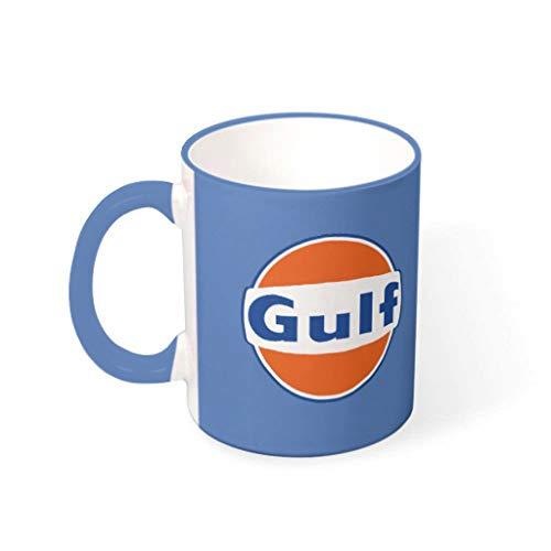 O5KFD&8 11 oz Wasser Tee Becher Tasse mit Griff Porzellan Personal Mug - Orange Gulf, Anzug für Haus verwenden Steel Blue 330ml