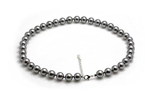 Schmuckwilli Damen Muschelkernperlen Perlenkette aus echter Muschel grau 45cm 10mm mk10mm0aus echter Muschel 45-45