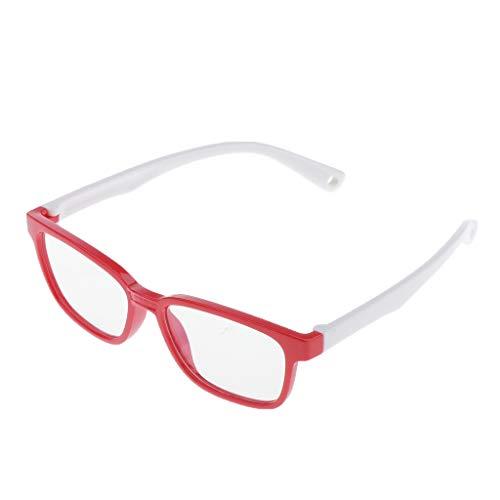 Anti Blaulicht-Blockierbrille für Anti-Augen-Kopfschmerzen, Retro Brillen, für Junge und Mädchen - Rot + Weiß