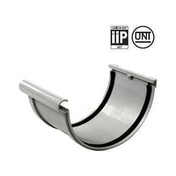 gris First Plast Gamme goutti/ère PVC 25 Naissance centrale avec support /à joints mont/és PVC 25 demi-ronde