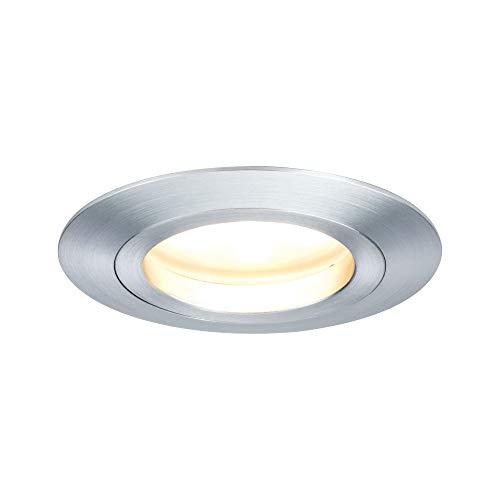 Preisvergleich Produktbild Paulmann 92824 LED Coin Einbaustrahler satiniert rund Spot IP23 sprühwassergeschützt Einbaulampe 7W Alu 1er-Komplettset Decke dimmbar Einbauleuchte,  Verschiedene Materialien,  7 W,  Silber