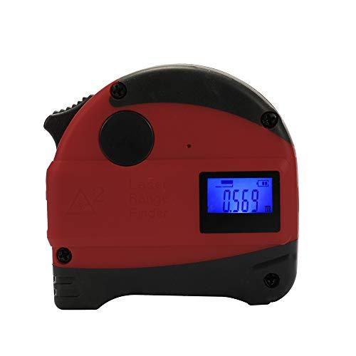 2-in-1 multifunctioneel USB oplaadbaar digitaal display infrarood laser afstandsmeter hoge nauwkeurigheid anti-val stalen band 30 m + 5 meter meetinstrument rood