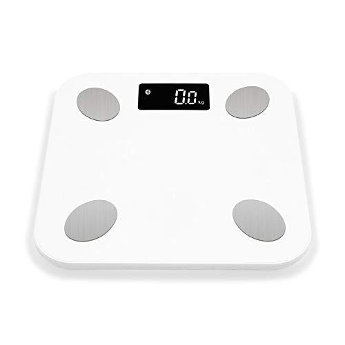Bluetooth schalen vloer Lichaamsgewicht weegschaal Smart Display met achtergrondverlichting Schaal Lichaamsgewicht Lichaamsvet Water spiermassa BMI (Color : WHITE)