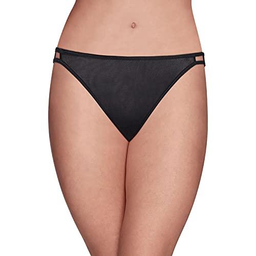 Vanity Fair Women's Illumination String Bikini Panties (Regular & Plus Size), Midnight Black, 8