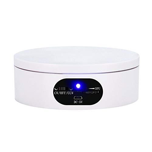 JRPT 360° Base Giratoria Eléctrica,USB Plataforma Rotatoria para Exhibición de Joyas,Fotografía/Blanco / 16cm Load 2.5kg