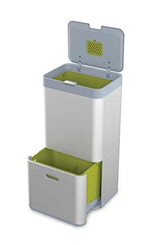 Joseph Joseph Totem 60, Abfalleimer, Mülltrennsystem, Abfall-und Recycling-System (ohne Caddy), 60L, Metall, 40 x 30 x 80 cm, silber