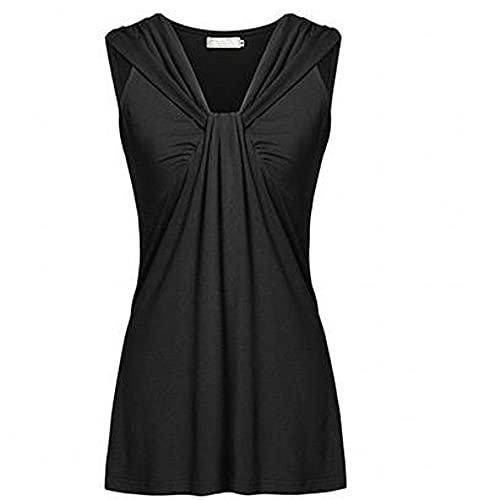 Camiseta Sin Mangas Mujer Elegante Color Sólido Plisado Escote Exquisito Mujer Camisa Temperamento Clásico Diseño De Moda Colocación Versión Suelta Nuevas Mujeres Tops A-Black L