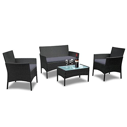 LARS360 Set da giardino per esterni Set da giardino in Poly Rattan Tavolo da giardino con sedie intrecciate con 3 divani e tavolo per a balcone, terrazzo e giardino, antracite e colore nero