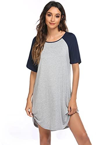 Ekouaer Camisón de noche para mujer, camisón de dormir de manga corta, cuello redondo, ropa de noche, informal, camiseta larga gris M