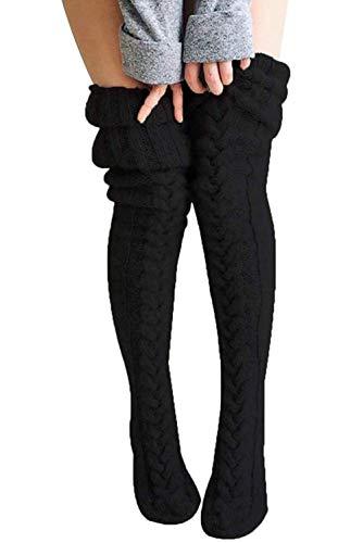 Loalirando Damen Overknee Strümpfe Lange Kniestrümpfe Teenager Schüler Überknie Strick Socken (Schwarz, One Size)
