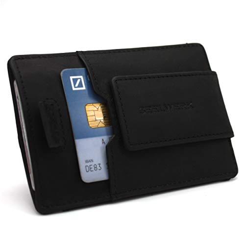 Kreditkartenetui mit Münzfach, Geldklammer und RFID Schutz für bis zu 12 Karten | Geldbeutel aus echtem Leder | Geldbörse mit Kleingeldfach | Portemonnaie mit Geschenkbox | Slim Wallet