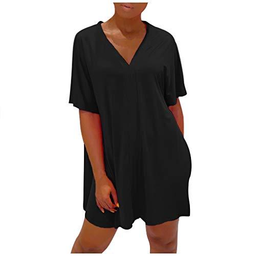 SUccess Damen Casual Einfarbig V-Ausschnitt Schlitz Tunika T-Shirt mit Short Zweiteiler Freizeitanzug Sommer Kurzarm Oberteile und Shorts Leggings Sport Outfit Set Frauen Freizeit Hausanzug