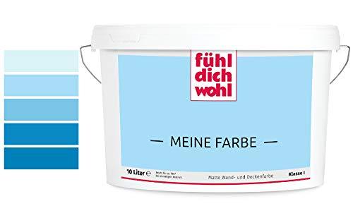Fühl Dich Wohl Meine Farbe 10l, matte Wandfarbe blau, hohe Deckkraft, verschiedene Blautöne zur Auswahl (2,5L, Hellblau E14-2)
