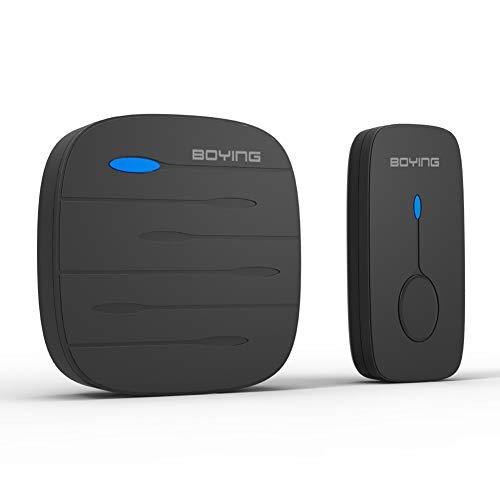 GHL draadloze deurbel, huishouden waterdicht muziek deurbel IP44 waterdicht met één toets en een ontvanger 58 melodie, zwart