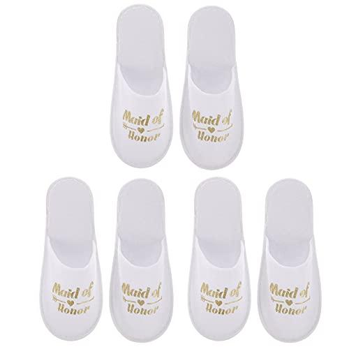 ABOOFAN 3 Pares de Zapatillas de Boda Dama de Honor Compromiso Nupcial Ducha Tela Calzado Dorado para Dama de Honor Pijamas Fiesta Cerrado Tote Calzado