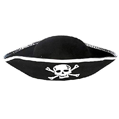 GUMEI Sombrero de Pirata de Tres Esquinas - Sombrero de Accesorio de Disfraz de bucanero de Tres Picos
