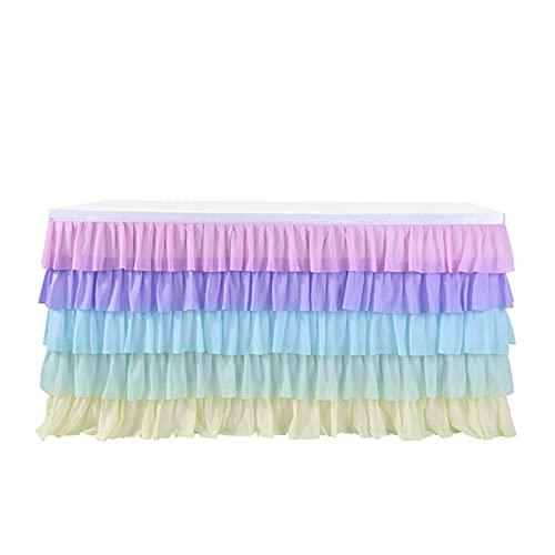 Falda de Mesa de Tul de gradiente para mesas en Cualquier Forma 5 Falda de Mesa de Volantes en Capas para Fiesta de Bodas de Vacaciones 6/9/14 ft,6ft(1.83m*0.77m)