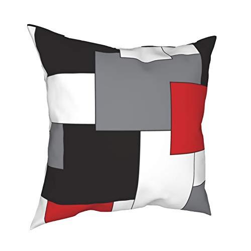 Uliykon Fundas de cojín decorativas de color rojo, negro, gris y blanco, cuadradas, fundas de almohada para sofá, dormitorio, coche, con cremallera invisible, 45,7 x 45,7 cm