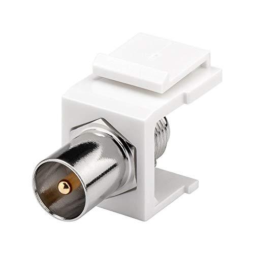 Goobay 79955 Keystone Modul mit Einrastvorrichtung, Verbinder Koax-Stecker > F-Buchse, SAT Antennen Anschluss, Kunststoffgehäuse, silber